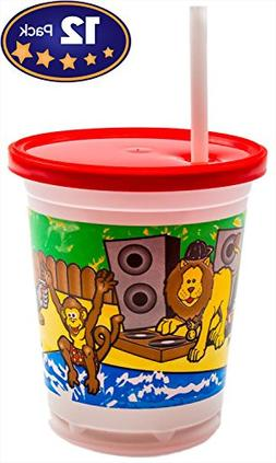 Spill Minimizing Kids Party Cups: Jungle Animals, 12 Pack wi