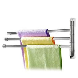 Sumnacon Wall Mounted Swing Towel Bar - Silver Stainless Ste